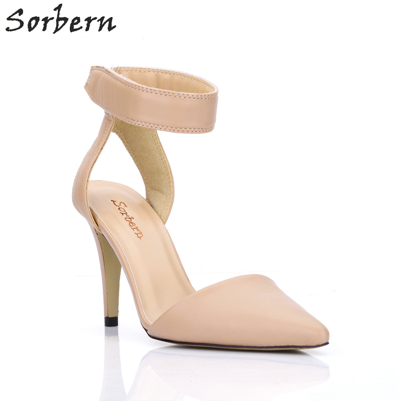 Sorbern Nude Ankle Straps Pointed Toe 9Cm High Heels Ol Shoes Women Shoes Summer 2018 Stiletto Shoes Woman Heels Yellow Heels