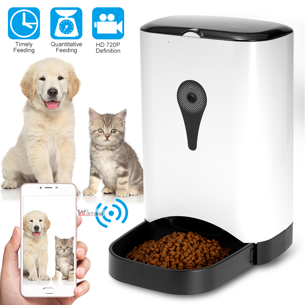 Automatic Pet Feeder Dispenser Feed Food For Dog Cat Wifi Recording With 720P WiFi Camera Phone Wireless Control Feeder Easy Set 5 5l automatic pet feeder with voice message recording and lcd screen large smart dogs cats food bowl dispenser pet products