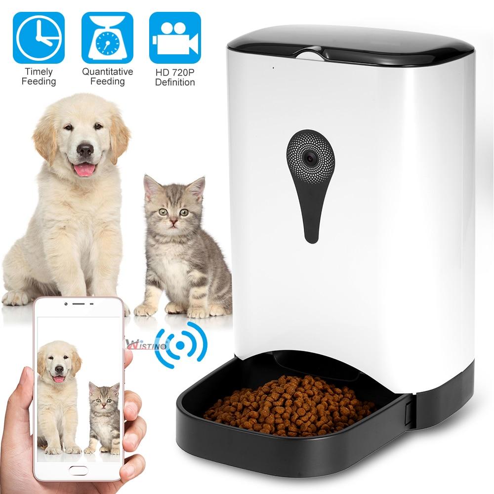 Bol automatique pour animal de compagnie Distributeur de Nourriture Pour Chien Chat Wifi D'enregistrement Avec 720 P WiFi Caméra Sans Fil Contrôle Mangeoire Facile Ensemble