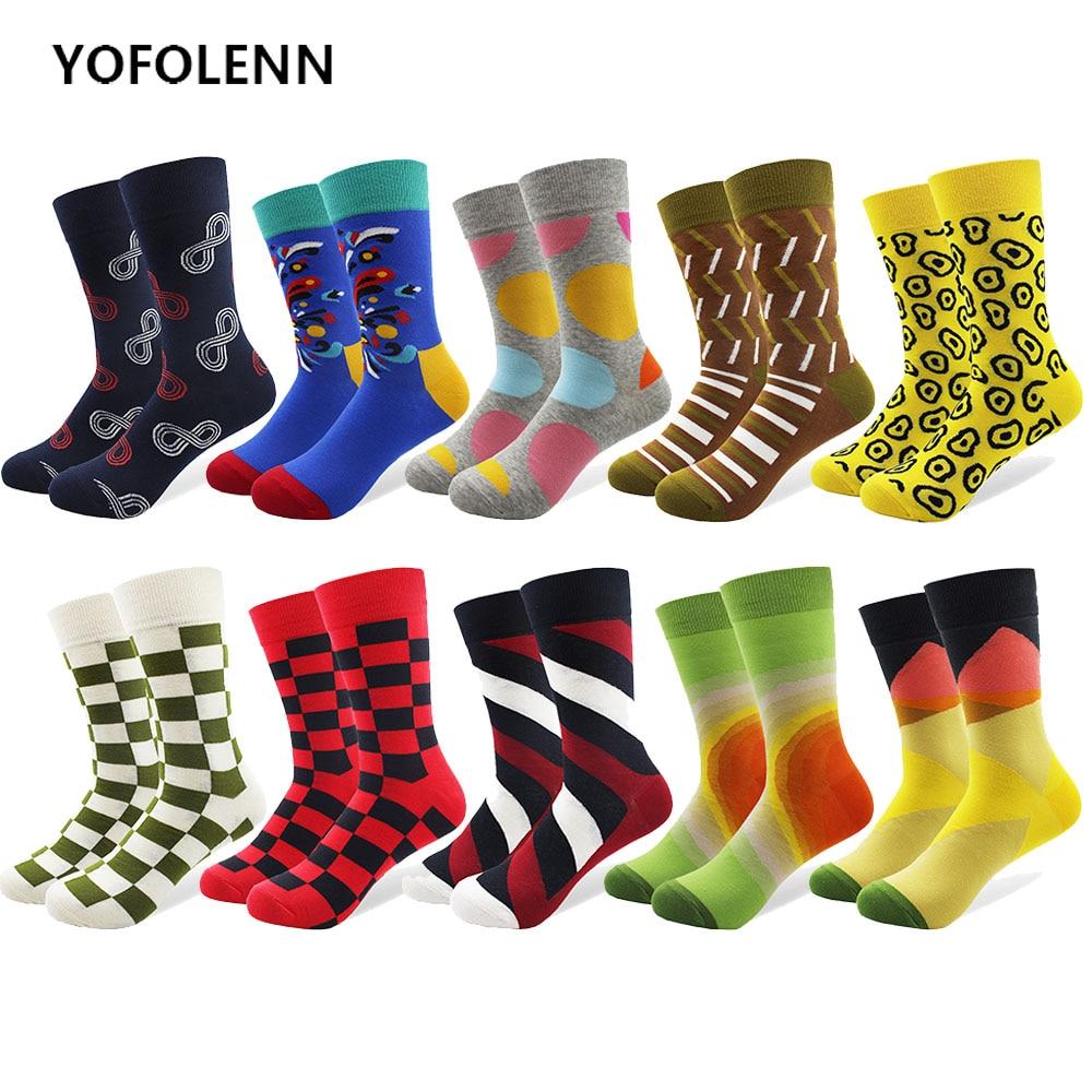 10 par / lote calcetines de algodón de los hombres multi-patrón - Ropa de hombre