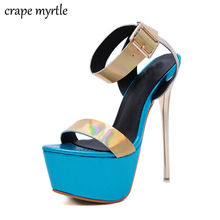 ankle strap heels summer high heels Platform Sandals Women High Heels sexy women pumps Open Toe blue shoes strap sandals YMA827