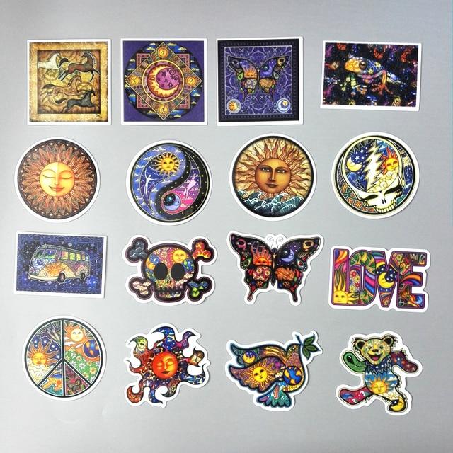 TD ZW 25Pcs/lot Colorful Sun Moon Wishing World Peace Style Laptop Luggage Skateboard Motorcycle Car Sticker Waterproof Stickers