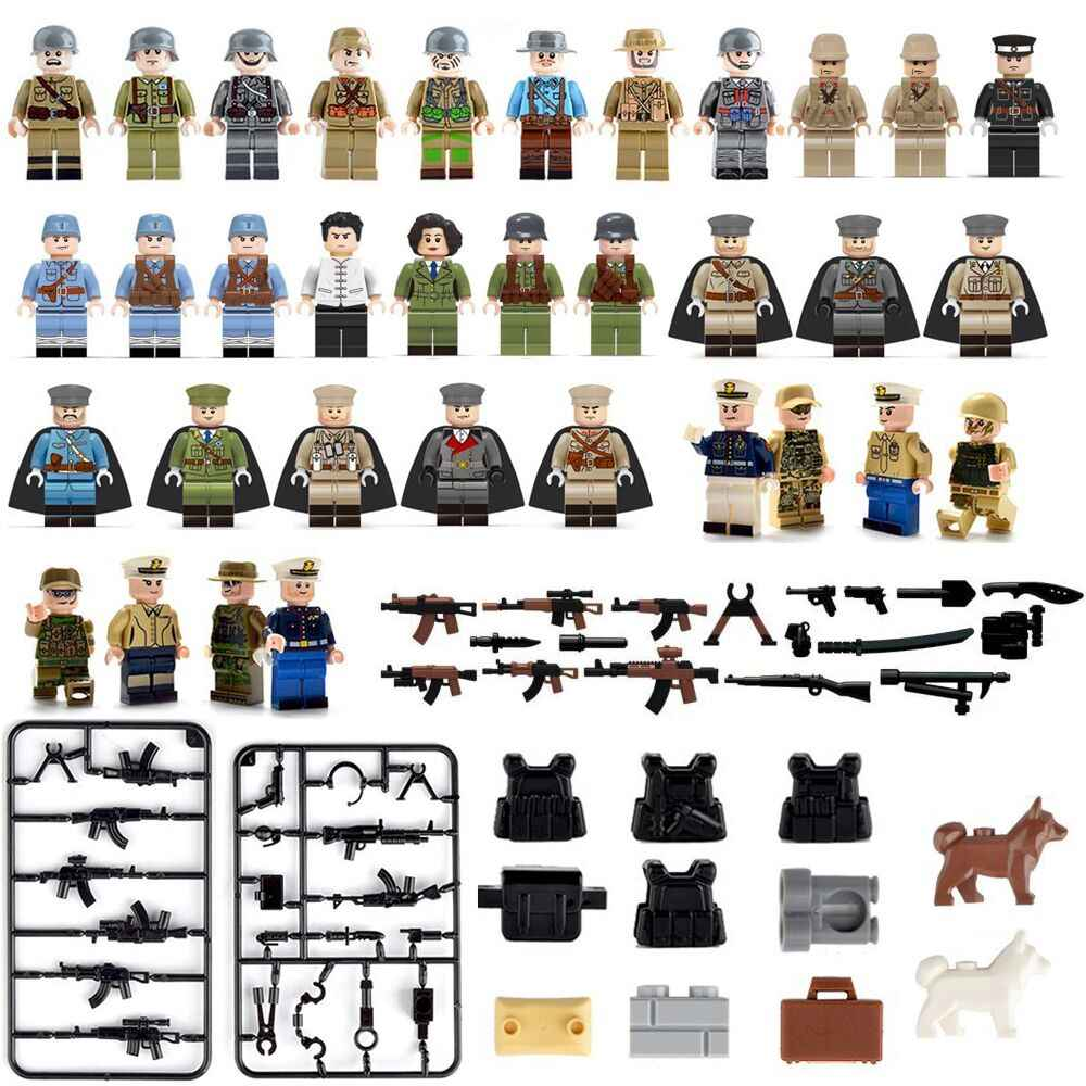 34pcs Compatible LegoINGlys Military MiniFigure Soldiers Army SWAT With Weapon Guns Building Blocks Toys For Children Boys Gift