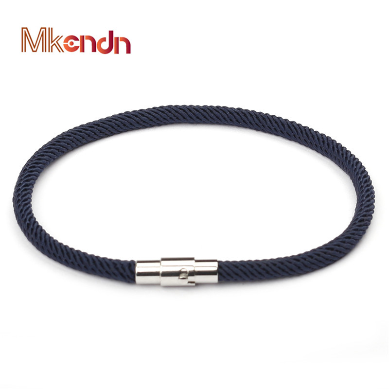 MKENDN Summer Style Macaron color Rope Leather Bracelet Men Women Magnetic Clasp for Lover Bracelets Bangles Pulseiras