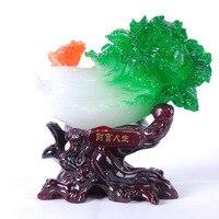 The wealth of life , Yiwu factory direct resin imitation jade furniture business gift ornaments, imitation mahogany jade cabbage