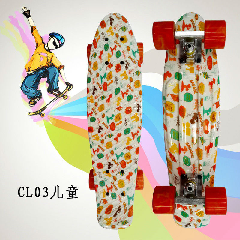 """Image 2 - Complete Peny Board 22"""" Colorful Plastic Skateboard Boy Girl Mini Long Board Skate 6Types Available-in Skate Board from Sports & Entertainment"""