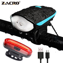 Zacro Led Bike Light with Bell Rechargeable Tail Light Waterproof Flashlight Running Led Muti-Functional Speakers for Bicycles(China)