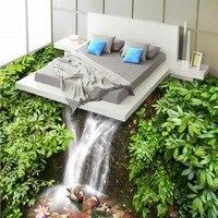 Free Shipping Mandarin duck playing water 3D floor wear non slip thickened flooring bedroom wallpaper living room mural
