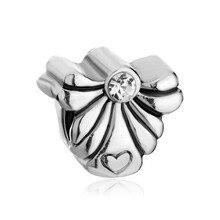 LeoBon Guardian Angel Heart April Birthstone Clear Crystal Beads Charms Bracelets Fit Pandora Bracelet