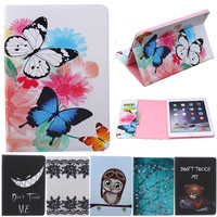 For Ipad Mini Butterfly Owl Bear Cartoon PU Leather Flip Stand Cover Cases For Apple IPad