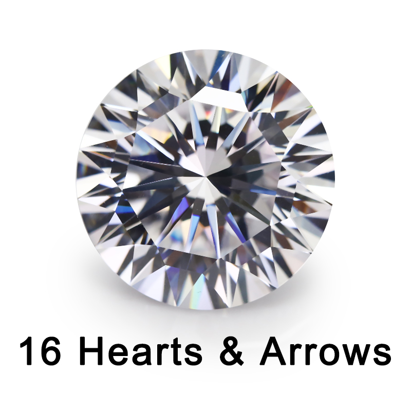 16 Hearts And 16 Arrow Cut 4~10mm Loose CZ 5A Quality White Cubic Zirconia Crystals Beads Stone Synthetic Gemstone