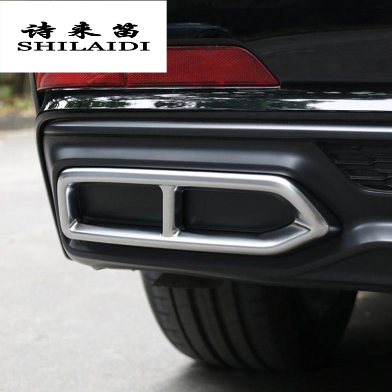 Car Styling Trunk Automobiles Tail Throat Decor decoration Frame For <font><b>Audi</b></font> <font><b>A6</b></font> <font><b>2019</b></font> Exhaust Pipe Trim Covers Stickers Accessories image