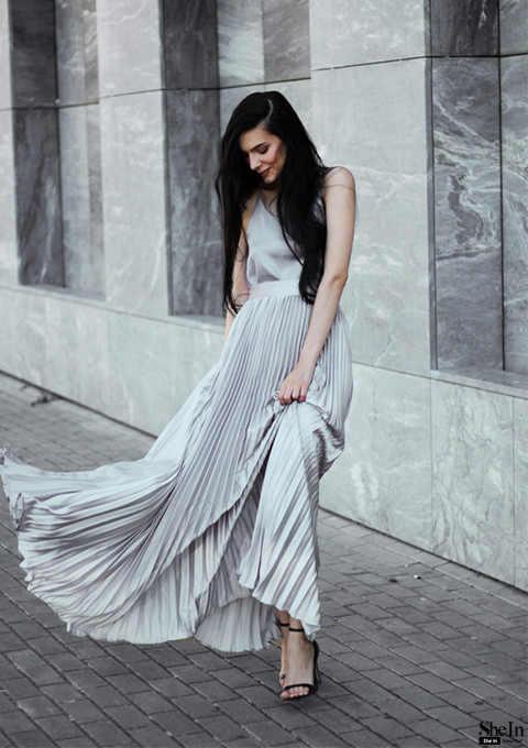 2983a9fea ... Sheinside Pleated Maxi Skirt 2017 Autumn Womens Hight Waist Fashion  Designer Elegant Ladies Elastic Waist Beach