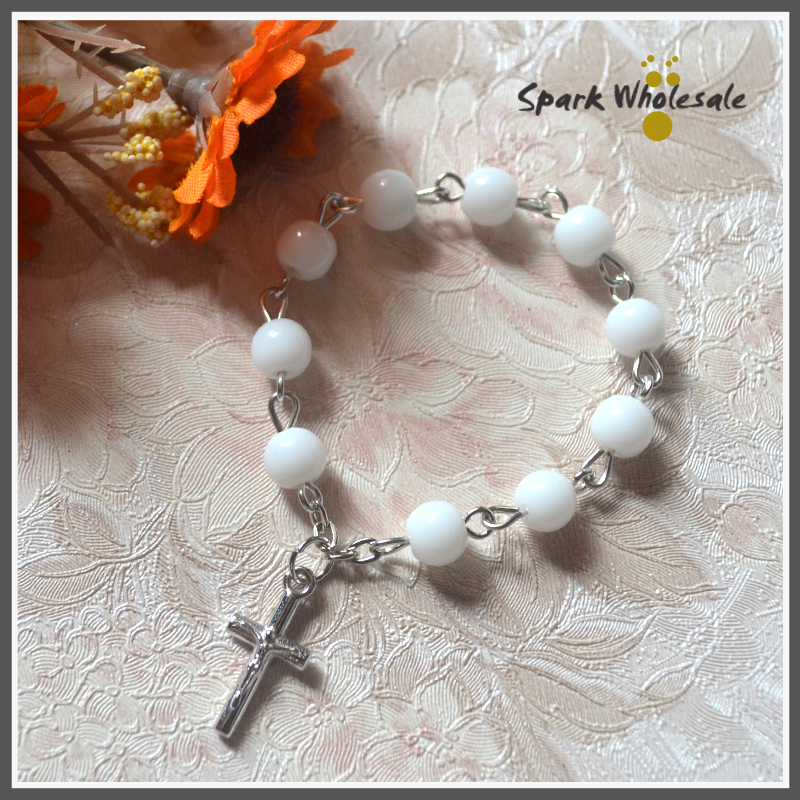 25pcs/lot Catholic 6mm White Glass Beads Finger Rosary Ring Mini Rosary Christian Childrens Baptism Favors Shower Party Gifts