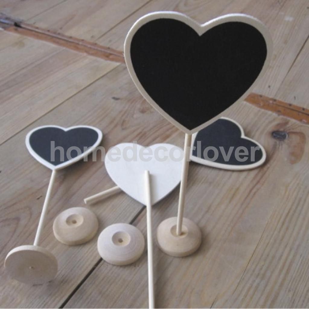 10 pcs Mini Wooden Heart Blackboard Chalkboard Stands Wedding Table Number Decor