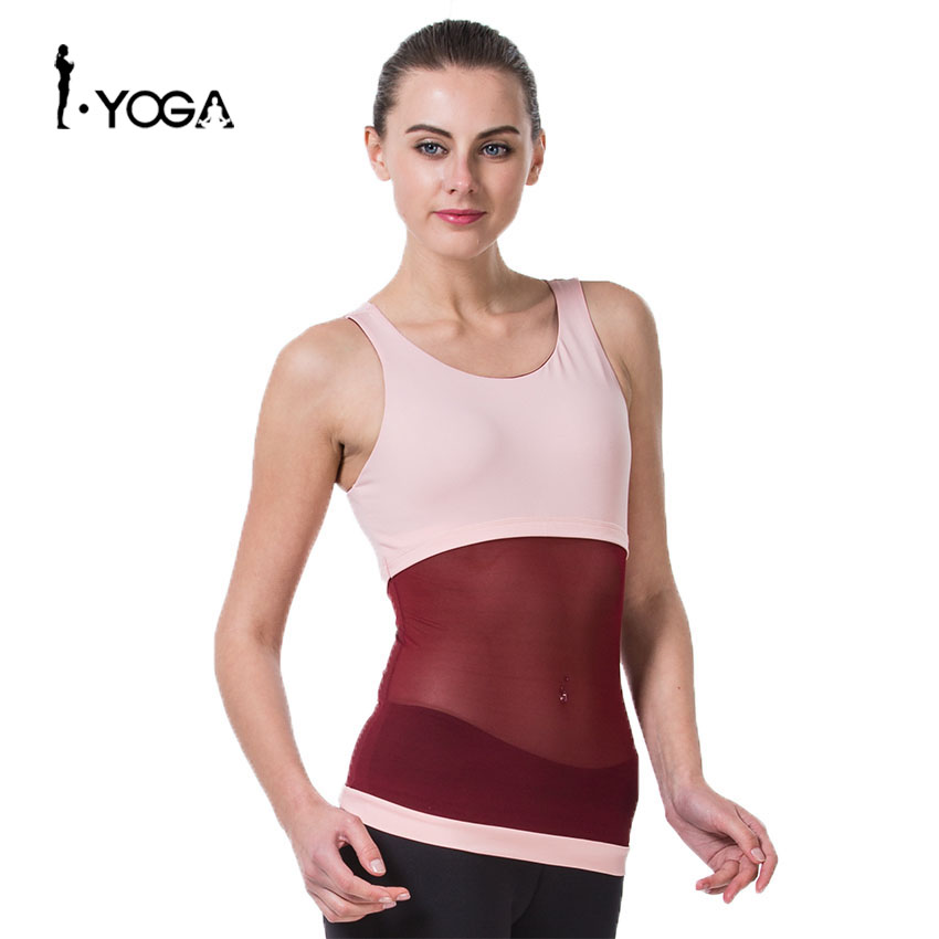 Fitness Mesh Patchwork Sports Yoga Tights Sleeveless Shirt Vest Women Solid Color Breathable Sexy Slim Pad Running Workout Tops
