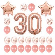 Confettis étoiles or Rose 40 pouces, ballons à chiffres en feuille d'aluminium, fournitures de décoration de fête d'anniversaire, 24 pièces/ensemble 16 21 30 40 50 60