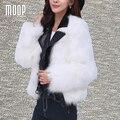Jaquetas de couro genuíno de 100% da pele de Carneiro revestimento da motocicleta branca real fox fur emendado casacos chaquetas mujer jaqueta feminina LT1004