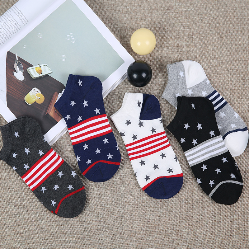 Mantieqingway British Style Cotton Socks for Mens Suits Business Dress Unisex Socks for Women Striped Printed Short Boat Socks