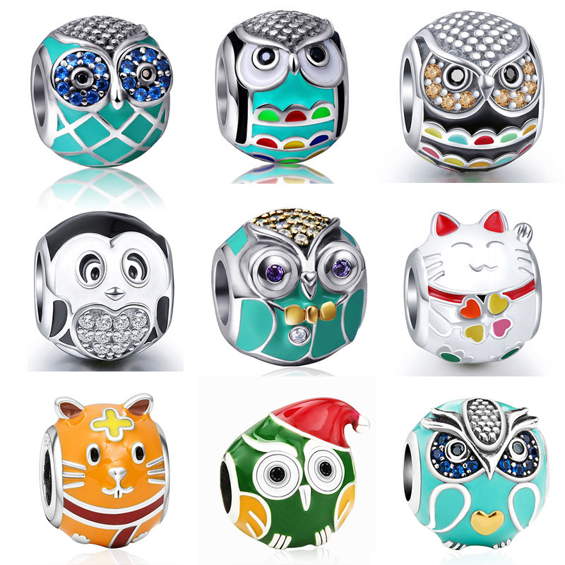 Bagoly Chick Cat Mix Charm gyöngyök alkalmas hiteles Pandora karkötő ezüst 925 Charms eredeti sterling ezüst ékszer nők ajándékok