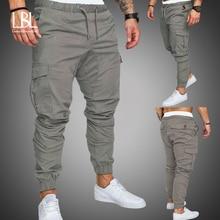 Осенние мужские штаны в стиле хип-хоп, штаны-шаровары для бега, новинка, мужские брюки, мужские одноцветные штаны-карго с несколькими карманами, обтягивающие спортивные штаны
