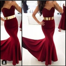 Burgundy Evening Dress Mermaid Officially Long Marsala Evening Gowns Gold Belt Decoration Sleeveless Sweetheart Party Dresses