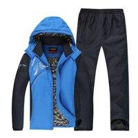 Keep Warm Sports Suit Male Fleece Lining Zipper Pocket Men Sportswear Set Winter Outdoor Workout Running