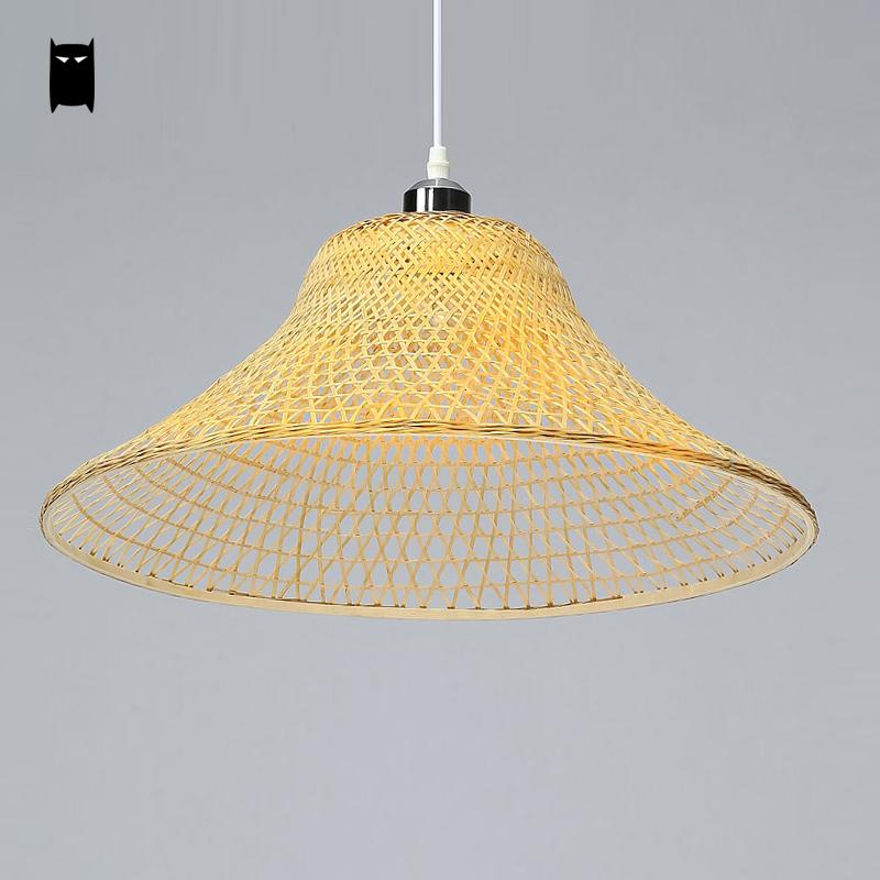 Bamboo Wicker Rattan Cap Lampshade Pendant Light Fixture Rustic Asian Japanese Suspension Lamp Design Tea Dining Room Restaurant new arrival modern chinese style bamboo wool lamps rustic bamboo pendant light 3015 free shipping