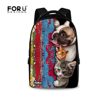 New Preppy Style Cat Dog Print Male Laptop Backpack Men 15 6 Inch Laptop School Vintage