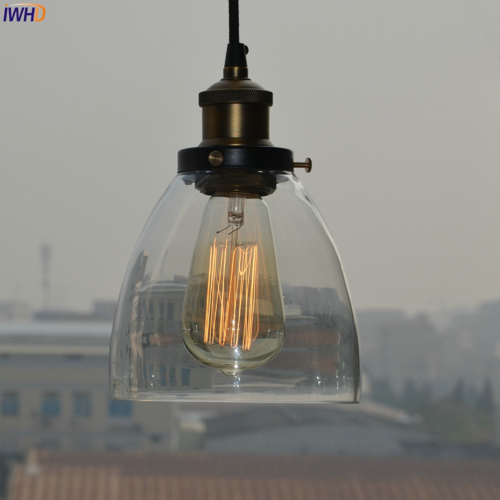 IWHD Style Loft Lampe Vintage Lamp Edison Pendant Light Fixtures Glass Lampshade Retro Industrial Lighting LED Hanglamp 2pcs american loft style retro lampe vintage lamp industrial pendant lighting fixtures dinning room bombilla edison lamparas