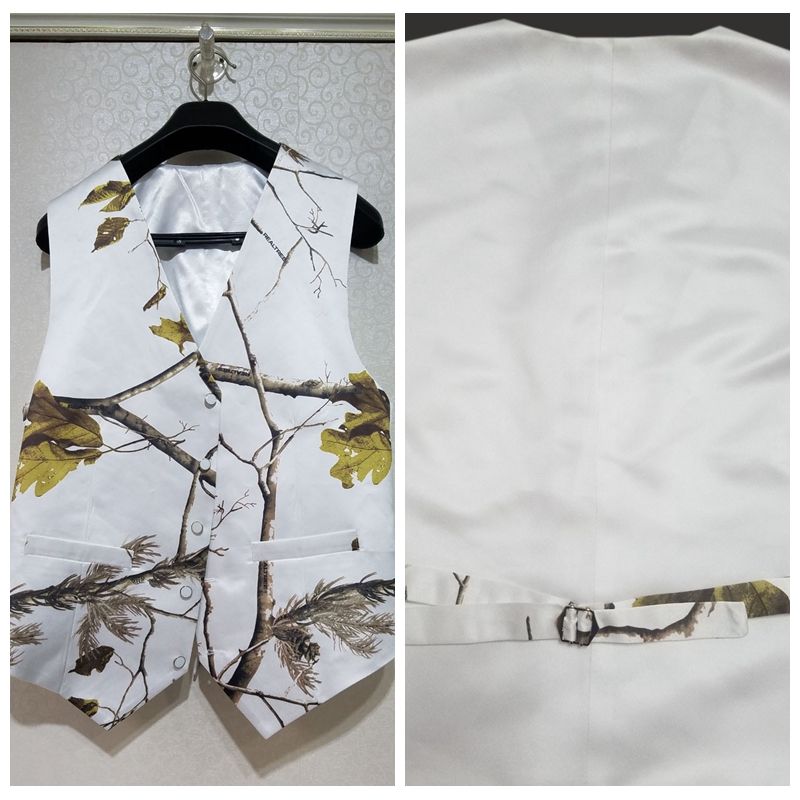 Creative Real Tree Satin White Camo Men Vest Custom Camouflage Groom Groomsmen Vests Father And Boy Matching Vest Custom Country Be Friendly In Use