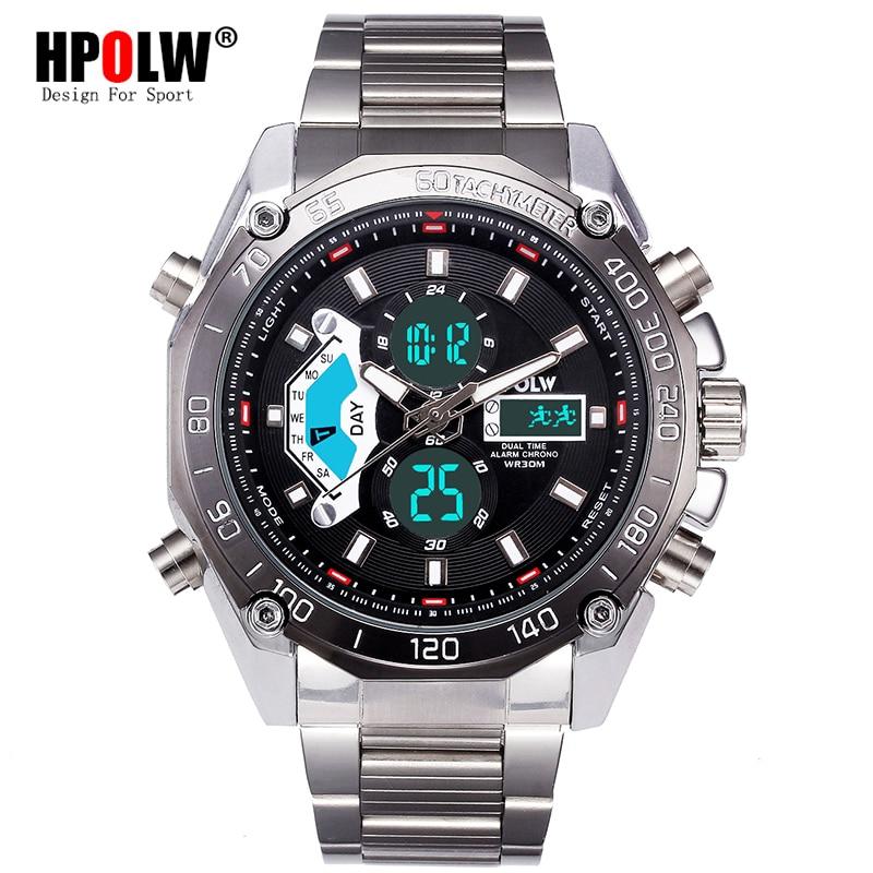 Men Digital LED Military Watches Top Brand Luxury HPOLW Men's Analog Quartz Digital Watch Outdoor Sport Watch Relogio Masculino