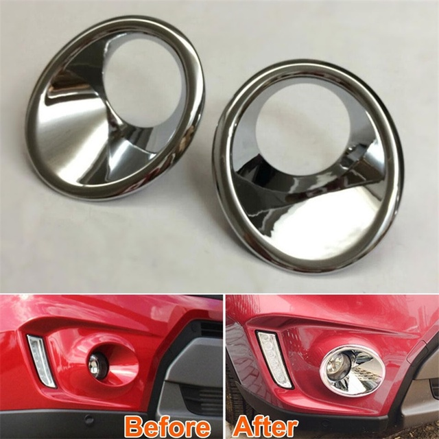 For Suzuki 2015 2016 2017 Vitara Front Foglight Cover ABS Chrome Fog Lamp Frame Car Styling Accessories Front Fog Light Cover