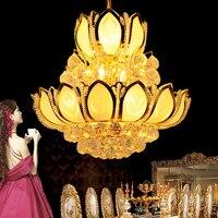 Gold Modern Crystal Chandelier Lighting Fixture LED American K9 Crystal Chandeliers Golden Lotus Flower Hang Lamps