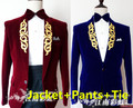 (jacket+pants+tie) male suit blazer casual formal wedding party groom prom party singer red blue color male outfit show