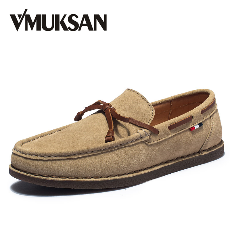 VMUKSAN Brand Fashion Men's Shoes High Quality Suede Leather Casual Men Loafers Breathable Slip-On Moccasins Mens new arrival low price mens breathable high quality casual shoes suede canvas casual shoes slip on men fashion flats loafers