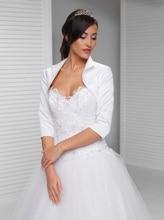 2017 New Fashion Free shipping Elegant Luxury Bridal Satin Bolero Shrug Jacket 3/4 sleeves Cheap  Wedding Gowns
