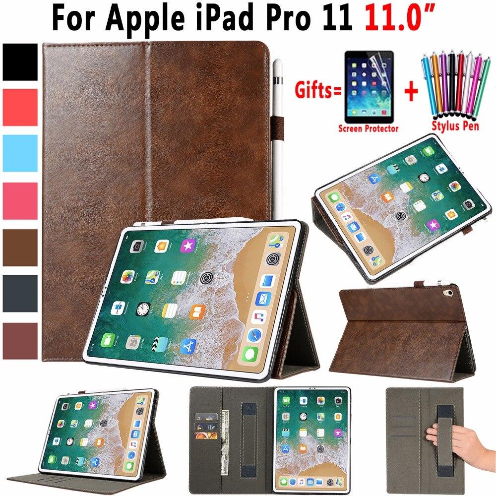 Housse En Cuir Premium pour Apple iPad Pro 11 pouce 2018 A1980 Tablet Dragonne Auto Éveillé Intelligent Sommeil Couverture Fondamentale porte-crayon
