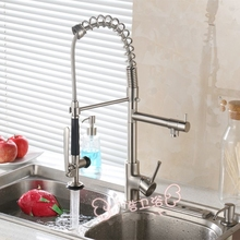 Новый стиль латунь полировка кухонный кран горячей и холодной воды вытащить смеситель с высоким давлением вытащить латунный опрыскиватель
