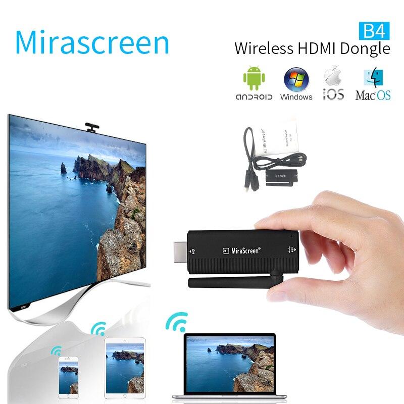 MiraScreen B4 Wireless HDMI Dongle 2.4GHz Full 1080P HDTV TV Stick DLNA Airplay with External WiFi Antenna VS chromecast tv cast