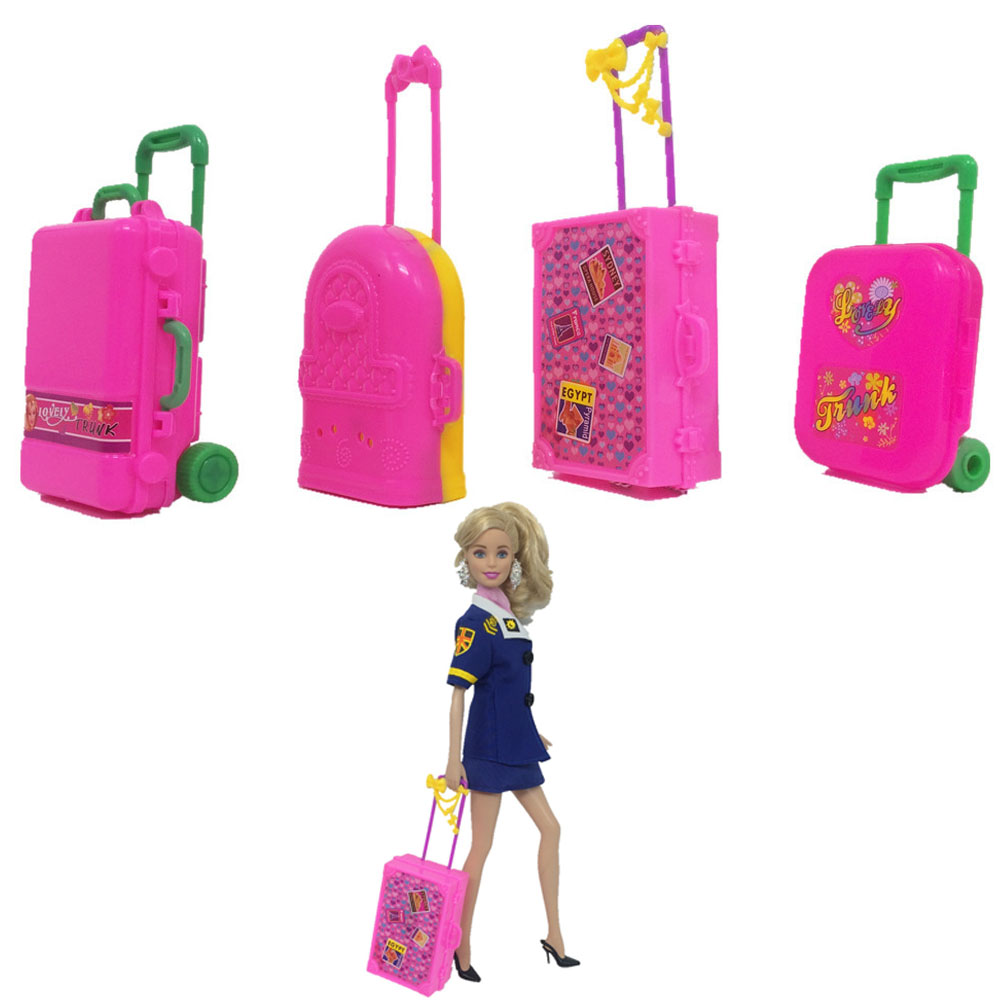 NK One Pcs  Fashion Doll Accessories Plastic Furniture Kids Toys Play House 3D Travel Train Suitcase Luggage For Barbie Doll DZ button