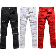 купить 2018 Ripped Jeans Men 'S Pant Zipper Biker Jeans Men Slim Skinny Destroyed Torn Jean Pants по цене 1322.97 рублей