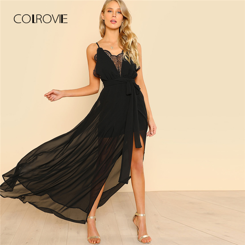 78db300f45c Detail Feedback Questions about COLROVIE Black Backless Lace Plunge V Neck  Slit Summer Dress 2018 New Strap Sexy Maxi Dress Elegant Evening Party Dress  on ...