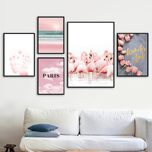 Pink Rose Flower Flamingo Girl Sea Beach Wall Art Canvas Painting Nordic Posters And Prints Pictures For Living Room Decor