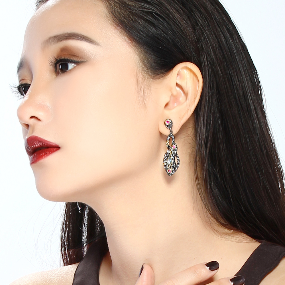 DreamCarnival1989 Vintage Style Black Gold color Jewelry Blue Red CZ Bezel Anniversary Gift Big Drop Infinity Earrings ZE52770 in Drop Earrings from Jewelry Accessories