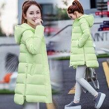 Зима в длинный участок женщин хлопка-проложенный куртка Корея мода толще пуховик женская куртка Корейской версии