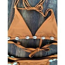 Halter Solid With Shell Women Biquini Set Swimwear
