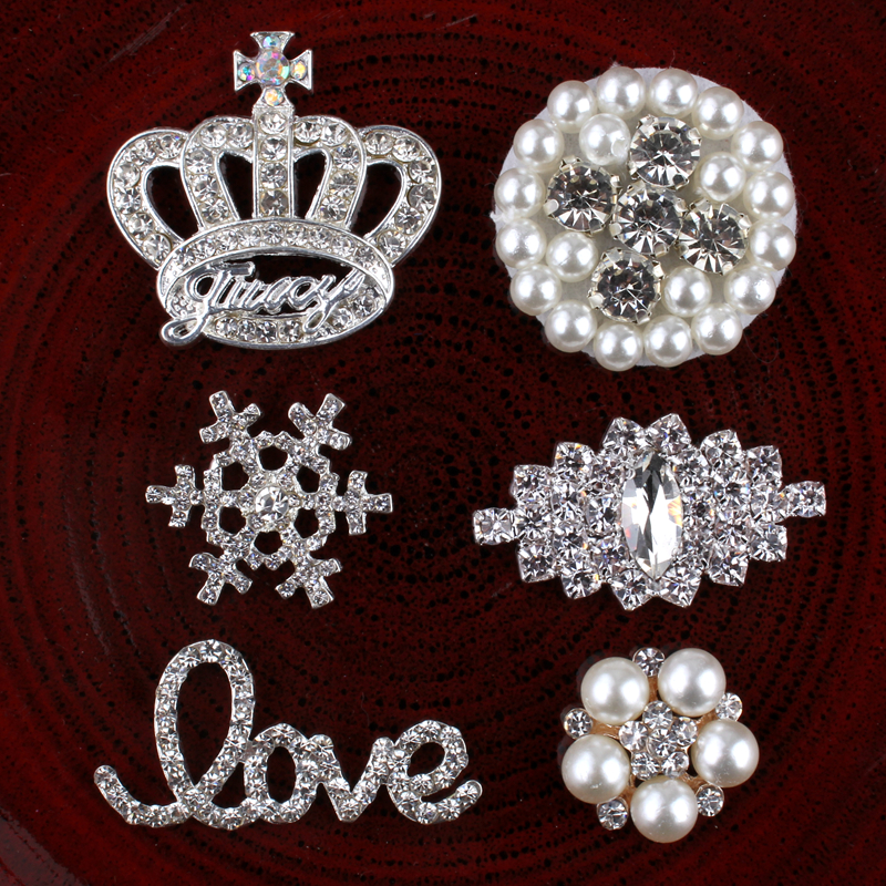 120PCS Vintage Handmade Metal Decorative ButtonsCrystal