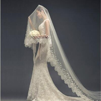 LAN Ting невесты одноуровневая Кружево аппликация Край свадебная фата собор покрывалами 53 разбросаны шарик цветочный мотив Стиль тюль