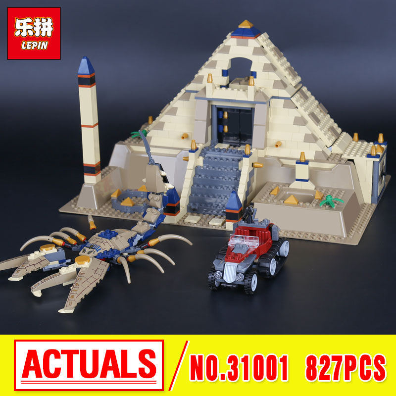 Lepin 31001 827Pcs Egypt Pharaoh Series The Scorpion Pyramid Children Educational Building Blocks Bricks Toys Model Gifts 7327 the red pyramid